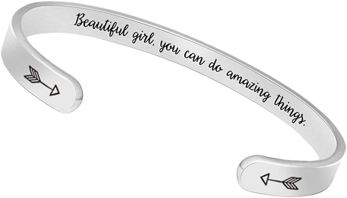 A N KINGPiiN Inspirational Bracelets for Women Inspirational Gift for Women Girls Men Motivational Birthday Cuff Bangle Friendship Personalized Mantra Jewelry Come Gift Box