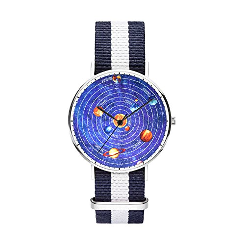 Mens watches, Boys Watches, Japanese Quartz Sliver Watches With Nylon Strap Analog Wrist Watch, Minimalism and Personalized Practical Design, Perfect Gift for Your Boyfriend.- Solar System by FELOOWSE