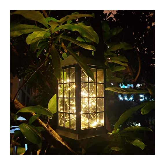 Solar Outdoor Lantern, Waterproof Hanging Solar Lantern with 30 LED Fairy Copper String Lights for Patio, Garden, Lawn, Pathway (Warm White) - CLASSIC DESIGN: Simple and elegant black frame rectangle shape with 30 LED warm fairy string lights, create a unique retro romance. SAFE LONG LIGHTING: Choosing the most popular string of lights inside the lantern instead of traditional candles, guarantees sufficient illumination without the danger of open flames. And after full charged, the solar lantern will automatically turn on at night and light up for 8 hours. PERFECT OUTDOOR DECOR: A movable hanging ring can be easily hung on anywhere, very suitable for your balcony, hallway, porch, courtyard, patio, garden, lawn. - patio, outdoor-lights, outdoor-decor - 51%2B880II2tL. SS570  -