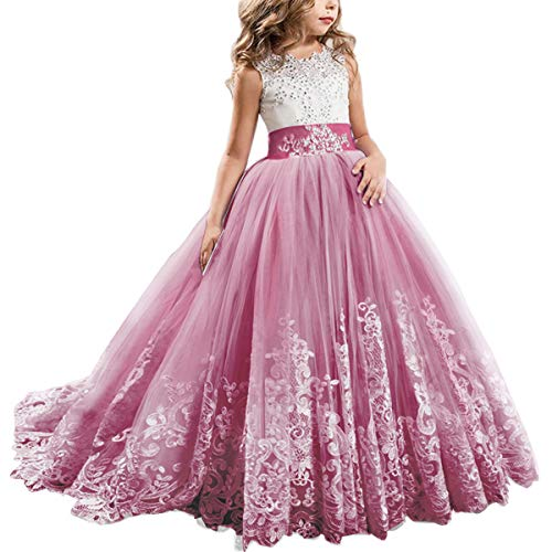 (FYMNSI Flowers Girls Applique Tulle Lace Wedding Dress First Communion Birthday Christmas Prom Ball Gown Deep Rose 4-5T)