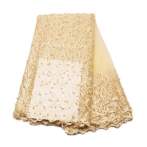 KENLACE 5 Yards/Lot Latest french lace 2017 gold bridal beaded trim french lace embroidery nigerian lace fabrics for wedding (Ivory as you see the picture)