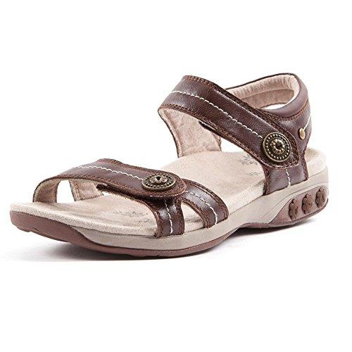 - Therafit Shoe Women's Grace Leather Adjustable Walking Sandal 8 Brown
