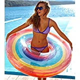 Coohole Hot! Rainbow Swim Ring Inflatable Pool Float Summer Swimming Adult Outdoor Party Beach Toys (120CM)