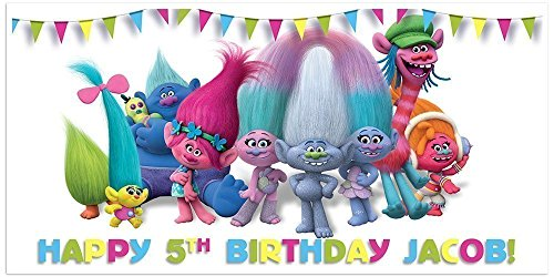 Trolls Birthday Banner Personalized Party Decoration (Personalized Banners For Birthdays)