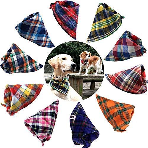 TAOBABY 8pcs/Pack Classic Pet Dog Bandanas Washable Triangle Plaid Adjustable Dog Scarf Bow Tiess (Bandana Dog Small)
