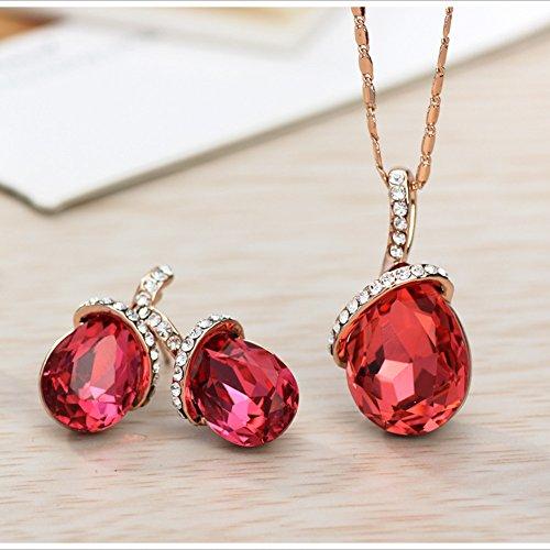 NEOGLORY Conjunto de Joya Collar Pendientes con Cristales SWAROVSKI ROJO Joya Original Regalo Mujer