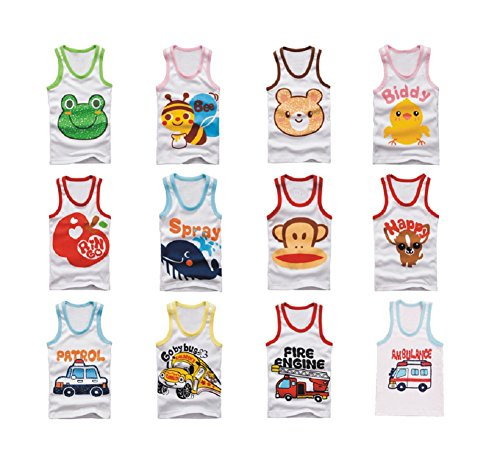 Buy Home Infant Toddlers Baby 100% Cotton 5 Pack Cartoon Japanese Vest Tank Sleeveless Top Set (12 Months, Assorted Color for Boy) (Medium Japanese Tank)