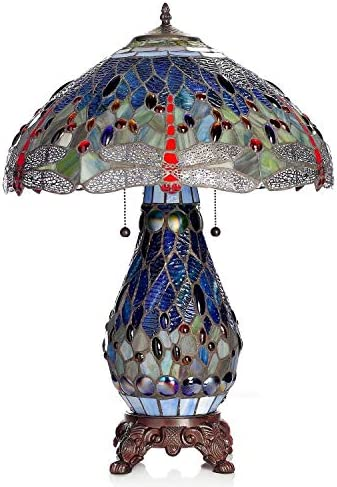 HomeRoots Warehouse of Tiffany s T18275TGRB Dragonfly Tiffany-Style Table Lamp with Lighted Base, 26 x 18 x 18 , Blue and Red