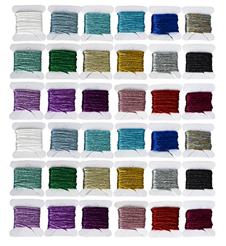 36pcs Premium Rainbow Color Metallic embroidery thread Sets