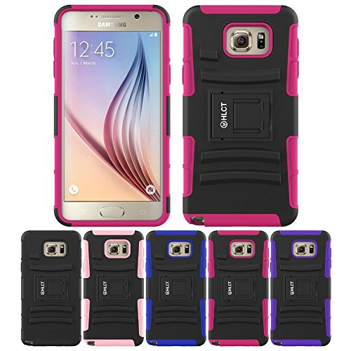 Galaxy Note 5 Case, HLCT Rugged Shock Proof Dual-Layer Case with Built-In Kickstand for Samsung Galaxy Note 5 (2015) (Rose Pink)