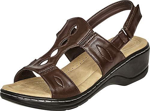 Cambridge Select Women's Open Toe Cutout Slingback Comfort Low Wedge Sandal,8.5 B(M) US,Brown PU