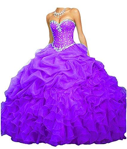 Perline Trifoglio Brithday Cloverdresses Abiti Abito Viola Organza Quinceanera Palla qgxw4f