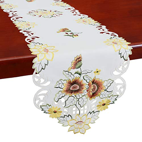 - Simhomsen Embroidered Sunflowers Table Runners, Spring Floral Table Decorations, Dresser Scarves (14 × 52 Inch)