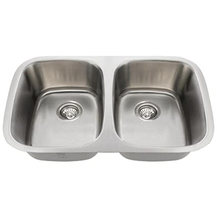 Mr Direct 510 18 Equal Double Bowl Stainless Steel Sink Amazoncom