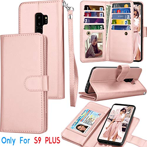 Tekcoo Galaxy S9 Plus Case, Tekcoo S9 Plus Wallet Case/Samsung Galaxy S9+ PU Leather Case, Luxury Credit Card Slots Holder Carrying Folio Flip Cover [Detachable Magnetic Hard Case] Kickstand -Rgold