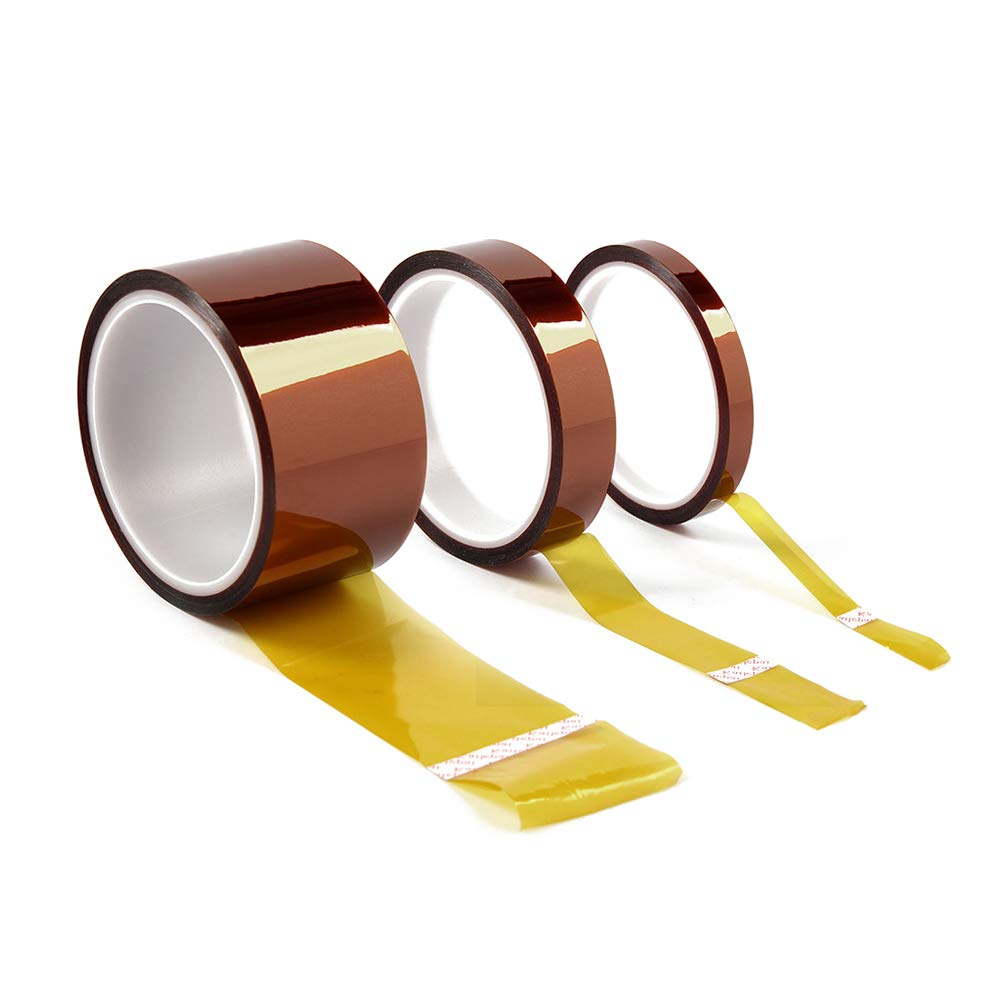 Treedix 3 Sizes High Temperature Adhesive Tape High Temp Resistant Tape Compatible with Masking Soldering(Width:10mm, 20mm, 30mm x Length:33m)