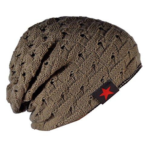 de con un de para Sombrero para patrón Calavera Desgarbado Gorro Gorro Unisex Punto faldón de caqui Hombre Thenice FwzqOP6w