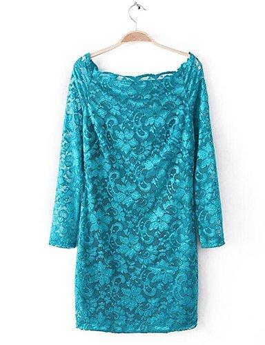 PU&PU Robe Aux femmes Gaine Simple,Couleur Pleine Bateau Au dessus du genou Polyester , purple-l , purple-l