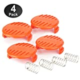YWTESCH Trimmer Replacement Spool Cap Covers Compatible for Black+Decker Trimmer,4 Pack ( 4 Spool Cap+4 Spring )