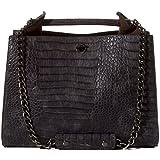 Handbag Republic Womens Designer Vegan Leather Alligator Print Shoulder Bag With Chain Straps For Ladies