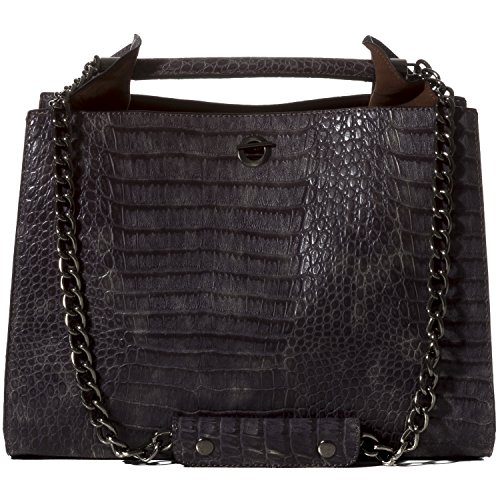 Handbag Republic Womens Designer Vegan Leather Alligator Print Shoulder Bag With Chain Straps For Ladies