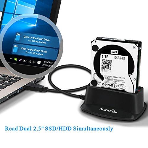 2.5' Ssd Drive - Rocketek USB 3.0 HDD Docking Station External Hard Drive Dual Bay SATA Enclosue for 2.5 inch HDD SSD SATA I/II/ III