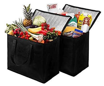 2 Pack Insulated Reusable Grocery Bag, Extra Large Size, Stands Upright, Collapsible, Sturdy Zipper