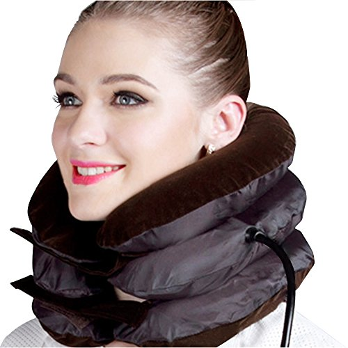 Cervical Traction Device ✮ Improve Spine Alignment to Reduce Neck Pain ✮ Cervical Collar Adjustable(Brown cervical neck traction Pillow (Brown) (Brown)