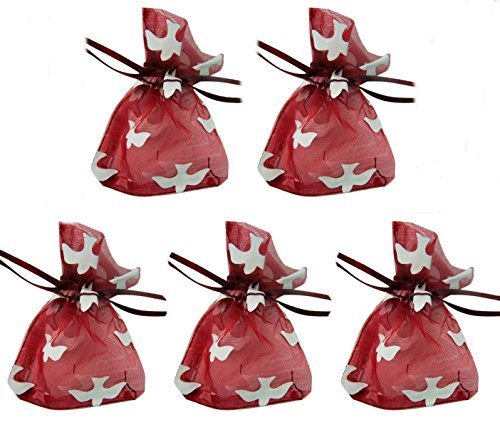 - Red Organza Confirmation Rosary Gift Bags with Holy Dove Design, 4 Inch, Pack of 5