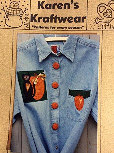 Karen's Kraftwear Applique for Clothing - Halloween Quilt Block with Black Cat and Pumpkin