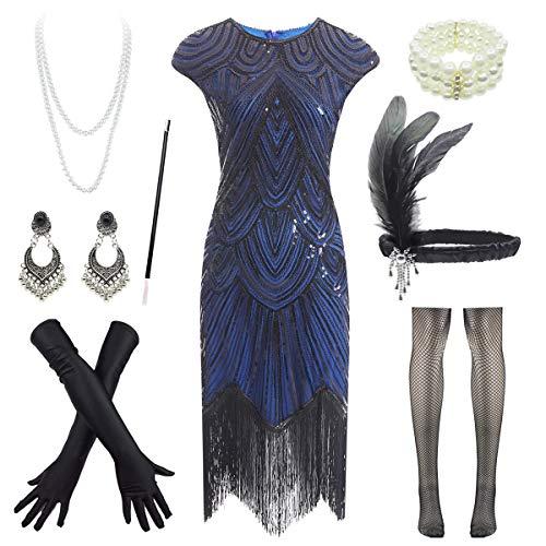 1920s Flapper Dress Roaring 20s Great Gatsby Fringed Sequin Dress Accessories Set (Small, Black&Blue) ()
