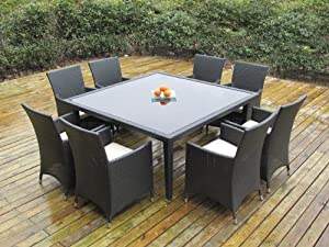 Ohana Outdoor Patio Wicker Furniture Square 9pc All Weather Dining Set with Free Patio Cover from Ohana