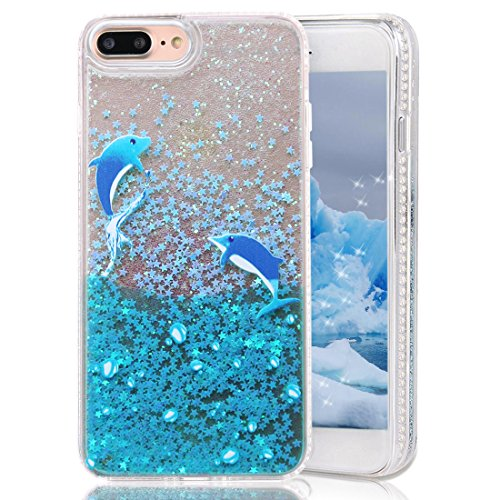iPhone 8 Plus Case,iPhone 7 Plus Case,CRAZY PANDA Creative Glitter Case with Soft TPU Border and 3D Free-Moving Bling Sparkle Stars Without Liquid for iPhone 7 Plus / iPhone 8 plus - Dolphin Crazy Panda