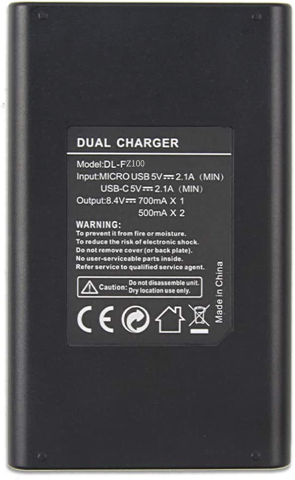Type C /& Micro USB Dual Input Rechargeable Dual Charger for Sony NP-FZ100