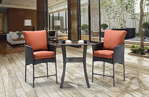 Hanover Strathmere Allure Series High-dining Bistro Set (3-Piece) Red STRALHBR3PCSQ-RST