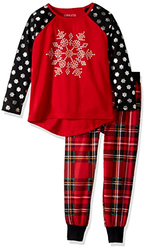 (Komar Kids Girls' Big Snowflake Holiday Plaid Jogger Sleep Set, red,)
