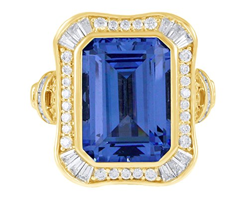 AFFY Simulated Blue Sapphire & White Cubic Zirconia Cocktail Ring in 14k Yellow Gold Over Sterling Silver Ring Size - 9 ()