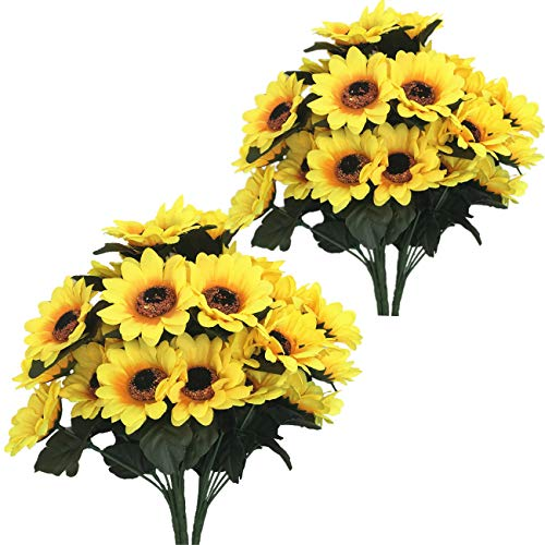 CATTREE Artificial Flowers, Sunflower Silk Helianthus Plastic Plants Fake Flowers Wedding Bridal Bouquet Party Indoor Outdoor DIY Home Garden Verandah Table Centerpieces Arrangements Decoration 8 Pcs (Best Flowers For Fall Wedding)