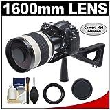 Rokinon 800mm Multi-Coated Mirror Lens with 2x Teleconverter (=1600mm) + Stedi-Stock Shoulder Brace Kit, Best Gadgets