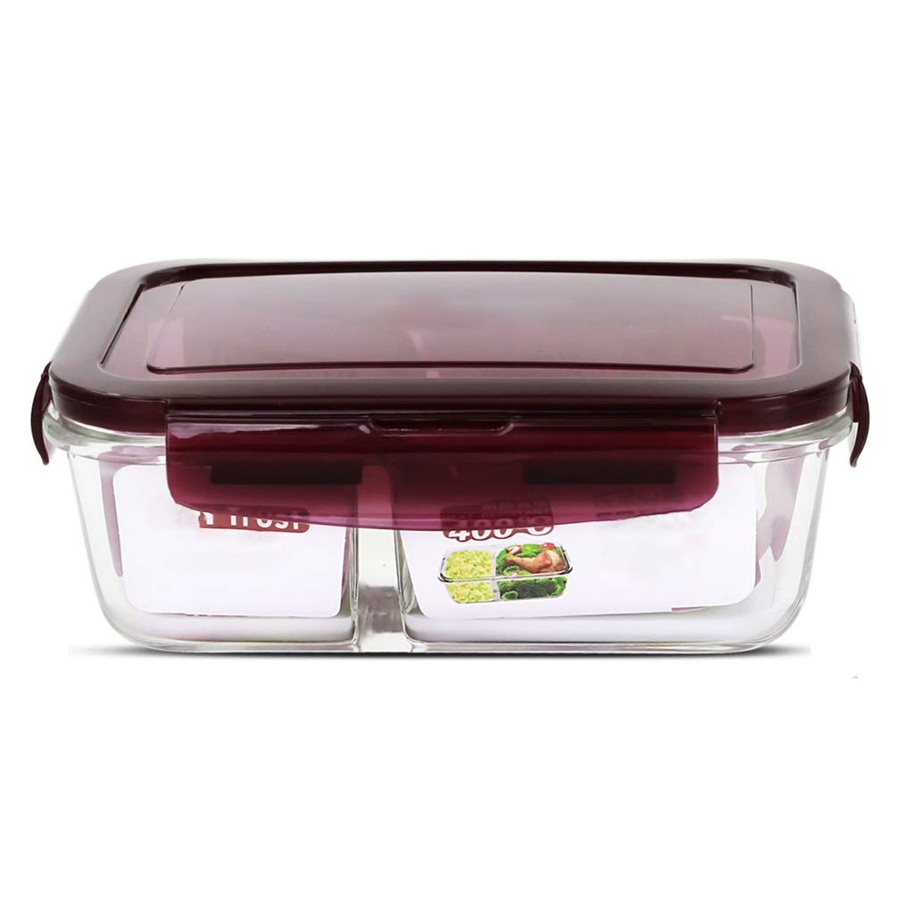 Separation Lunch Box Bento Container Partition Glass 800ML Insulated Leakproof Portable Compartment Microwave Oven Teen School Office 19.514.56.2cm MUMUJIN (Color : Purple)