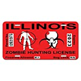 Illinois IL Zombie Hunting License Permit Red - Biohazard Response Team Novelty Metal Vanity License Tag Plate