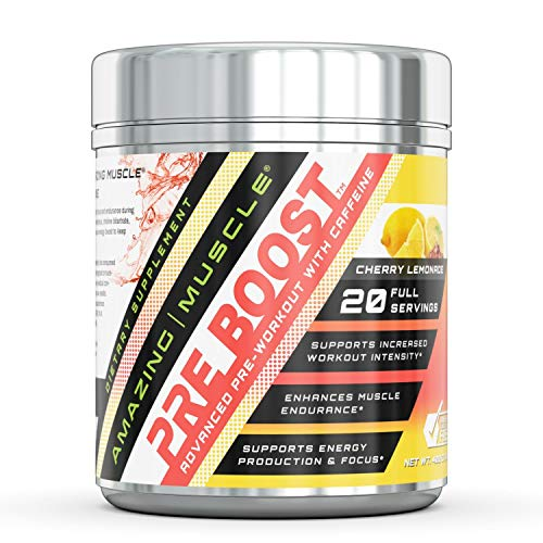 (Amazing Muscle – PRE-Boost-Advance Pre-Workout Formula with Caffeine, Beet Root Extract, BioPerine and More - Promotes Energy for an Intense Workout – 400 Grams Container (Cherry Lemonade))