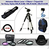 Advance 55mm Lens + Filters + Tripod Kit for Sony Alpha DSLR-A380, Sony Alpha DSLR-A230, Sony Alpha DSLR-A330