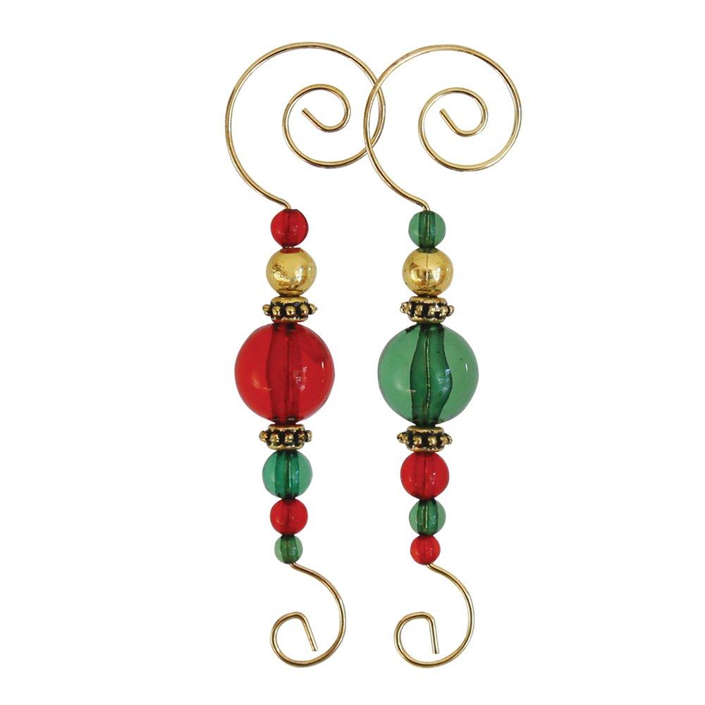 Decorative Christmas Ornament Hooks (Beaded Hooks, Set of 12)