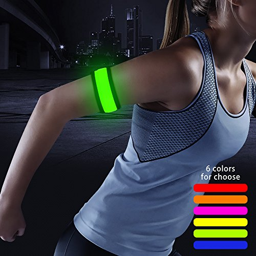 (CLAN-X Bseen LED Armband, Glow in The Dark Led Slap Bracelets for Men& Women, Light up Safety Sports Wristband for Running, Cycling, Jogging, Dog Walking (Green, 13.7inch))