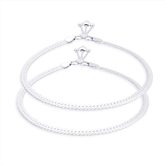 Taraash Single Line Designer Ending with Heart Charm 925 Sterling Silver Anklet For Women AN0550S Anklets at amazon