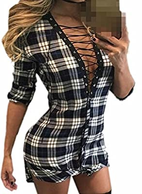 Papijam Womens Classic Sexy Plaid Mini Dress Shirts