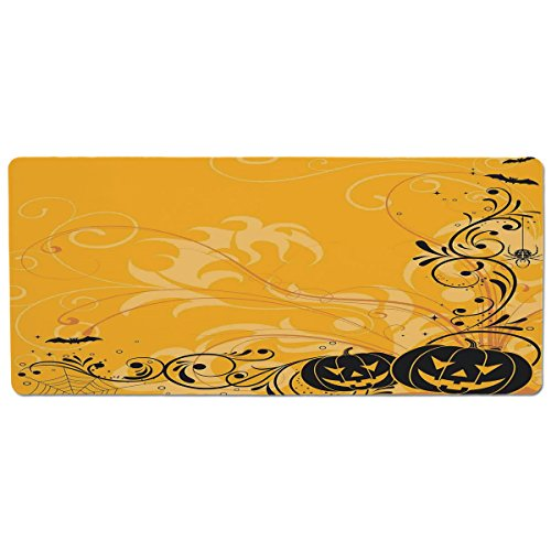 iPrint Pet Mat for Food and Water,Halloween Decorations,Carved Pumpkins with Floral Patterns Bats and Webs Horror Artwork,Orange Black,Rectangle Non-Slip Rubber Mat for Dogs and Cats ()