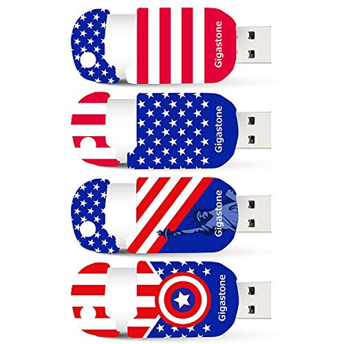 Gigastone 4 Pack 32GB USB Flash Drive, American Patriot Style, Capless Retracble USB 2.0 Thumb Drive Memory Stick Pen Drive for PC Windows Linux Apple Mac Desktop Laptop, 4 Pcs Pack (32 GB 4-Pack)