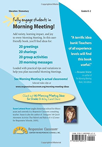 80 morning meeting ideas for grades k 2 susan lattanzi roser 80 morning meeting ideas for grades k 2 susan lattanzi roser 9781892989475 elementary education amazon canada m4hsunfo